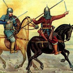 Столкновение киргизского (слева) и кимакского воинов
